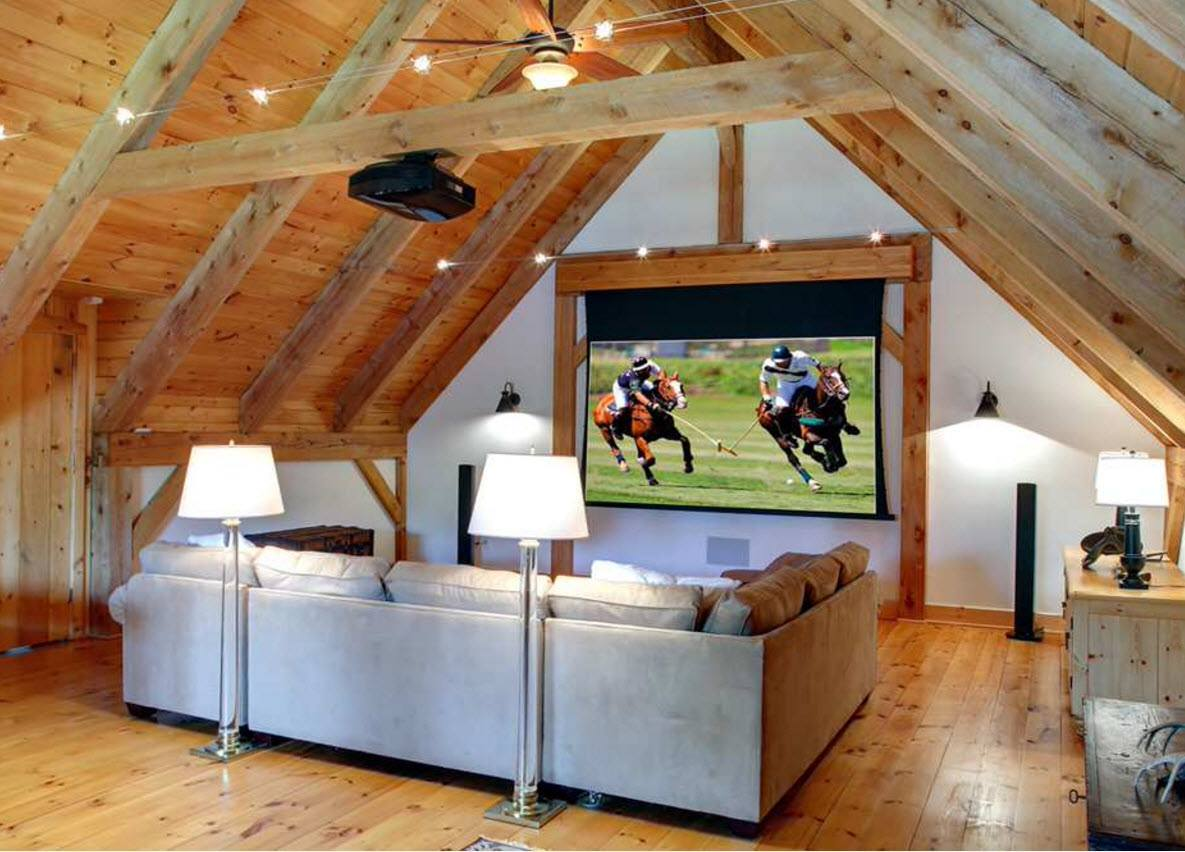 Home theater at the wooden trimmed attic - the cjoice of connoisseurs