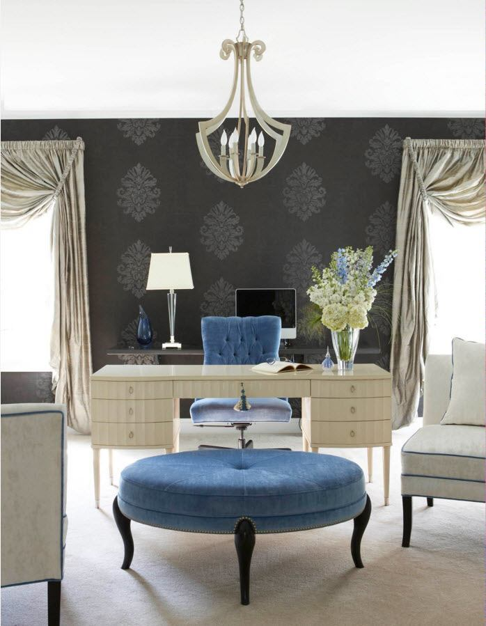 Ottoman as the Part of Modern Interior Design. Royal classic decoration of the living room with blue round ottoman in the center