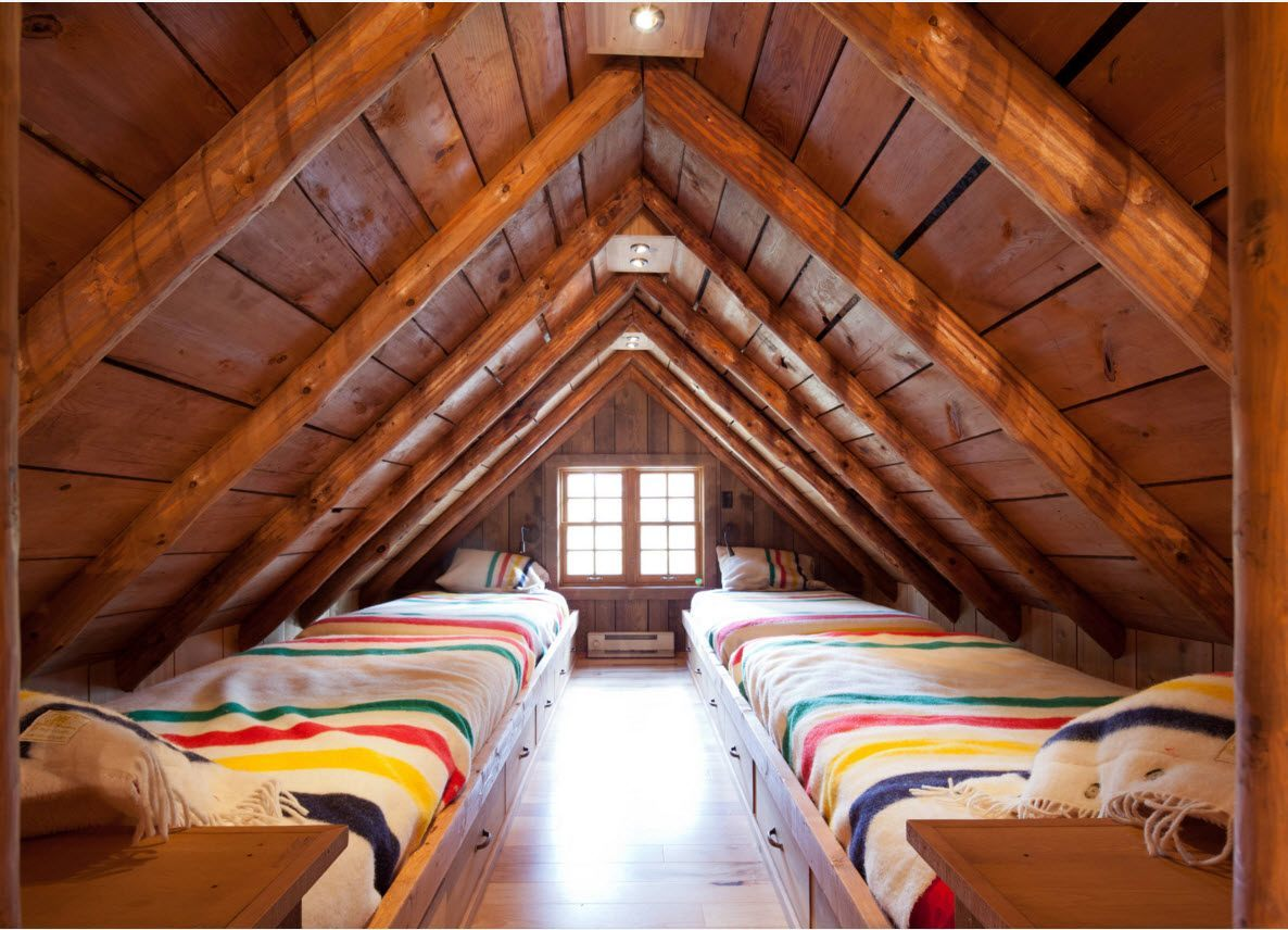 Loft Style Bedroom Design at the Attic. Two sleepers at the wooden trimmed space