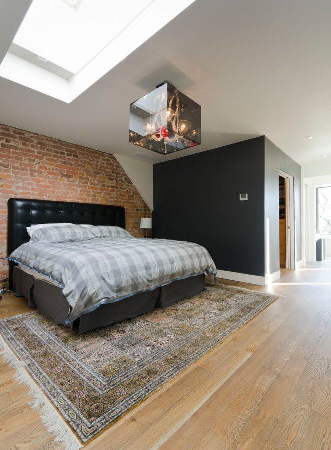 Wall Brickwork Design Ideas for Modern Living Spaces Interior. Loft bedroom idea with abruptly beveled ceiling