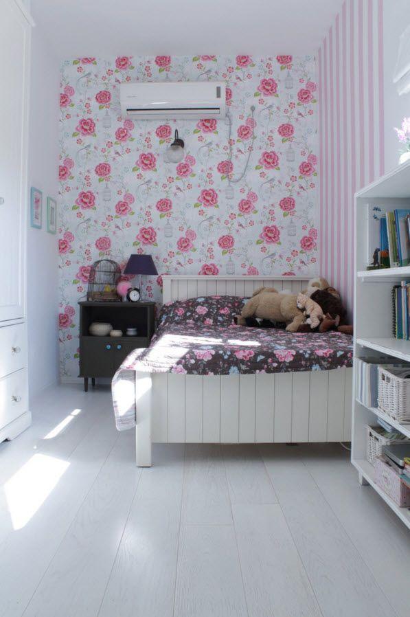 Flower motiff in the white bedroom interior