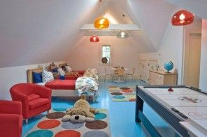 Children's Room Loft Renovation Design Ideas 2016. Nice decoration of the multifunctional space with azure painted floor