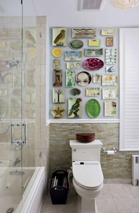 Toilet can also be decorated with plates looking like a tiles