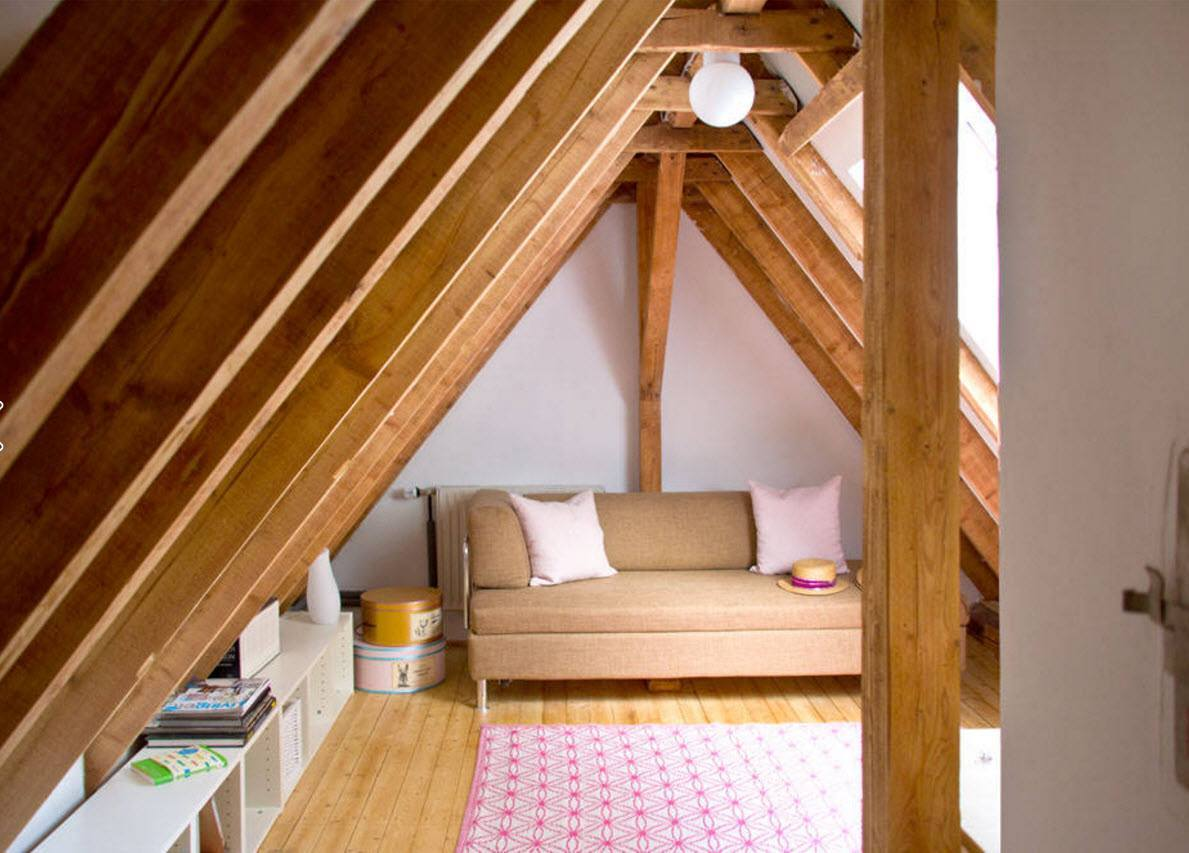 Modern Loft Living Room Design Ideas. Abrupt slant of the wooden beams