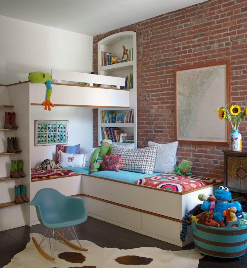 Wall Brickwork Design Ideas for Modern Living Spaces Interior. Bunk bed and the bricks - the unusual combination in the kids' room