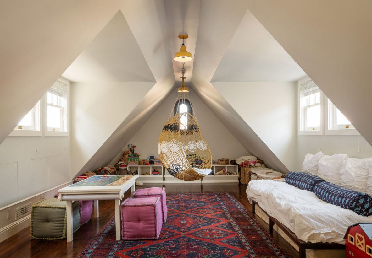 Children's Room Loft Renovation Design Ideas 2016. Colorful carpet to create unique atmosphere in the attic space