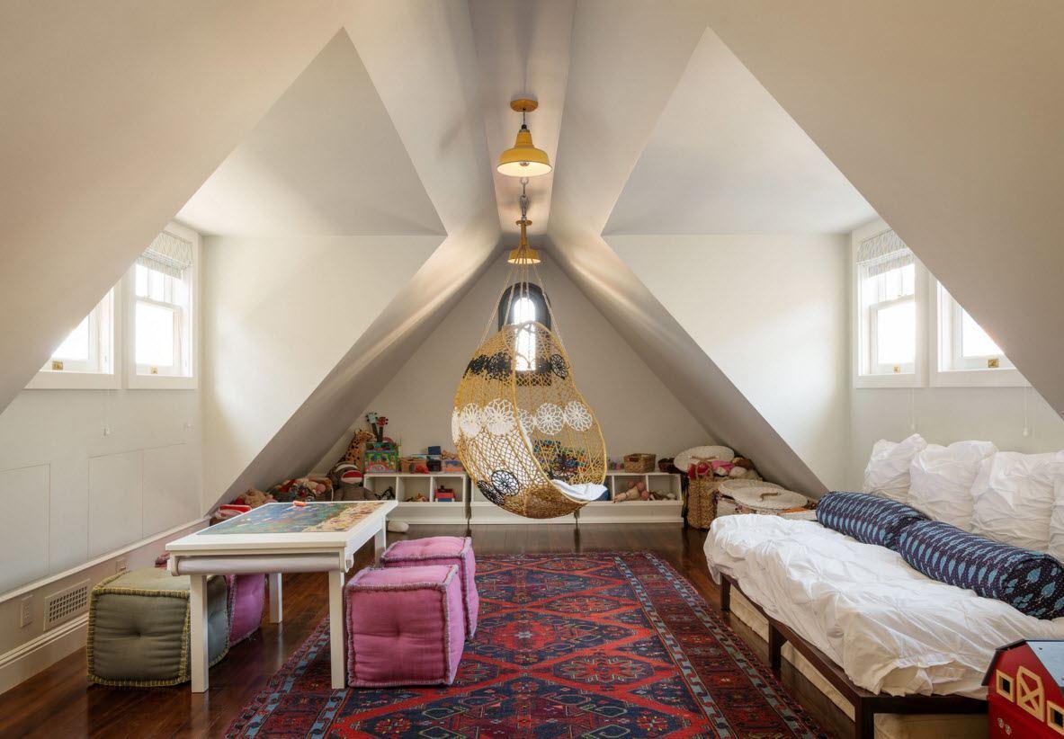 Children's Room Loft Renovation Design Ideas 2016. Colorful carpet to create unique atmosphere in the attic space