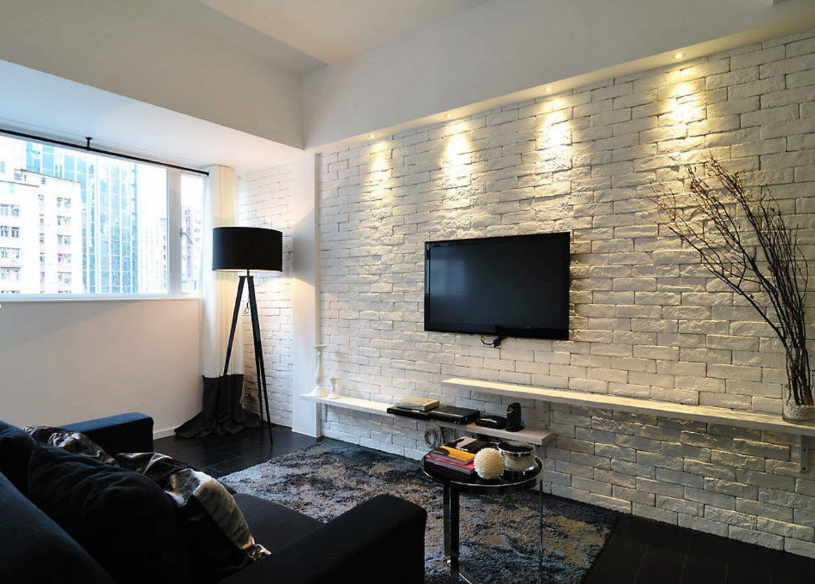 Wall Brickwork Design Ideas for Modern Living Spaces Interior. Whitewashed brick structure looks amazing with black interior elements