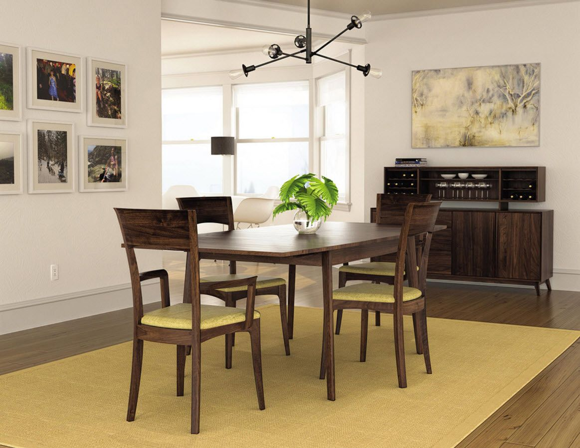 Walnut Furniture for the Modern Interior Decoration. Furniture set for the dining room with original forms of the chairs