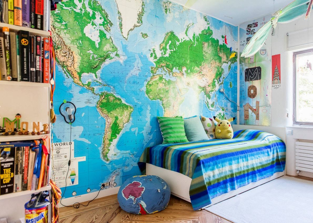 Boy's Room Design Ideas for every Age and Situation. Atlas photo wallpaper for young geographer