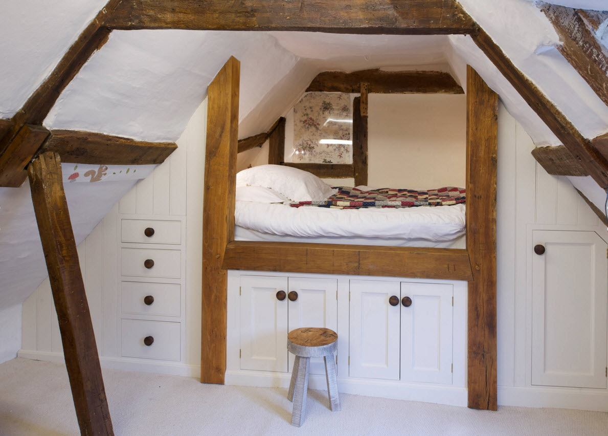 Loft Style Bedroom Design at the Attic. Nice bearth among the storage system in the white trimmed area