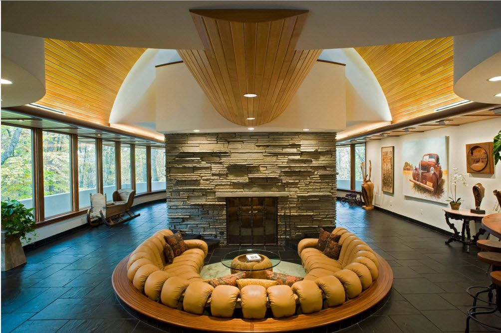 Original Architecture of Private House with In-ground Pool. Interior view in the living room