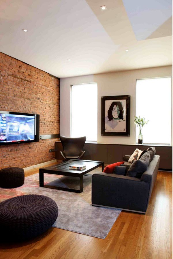 Wall Brickwork Design Ideas for Modern Living Spaces Interior. Accent of brick at the living room with TV-set