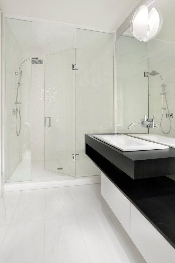 black plastic furniture for the white trimmed bathroom