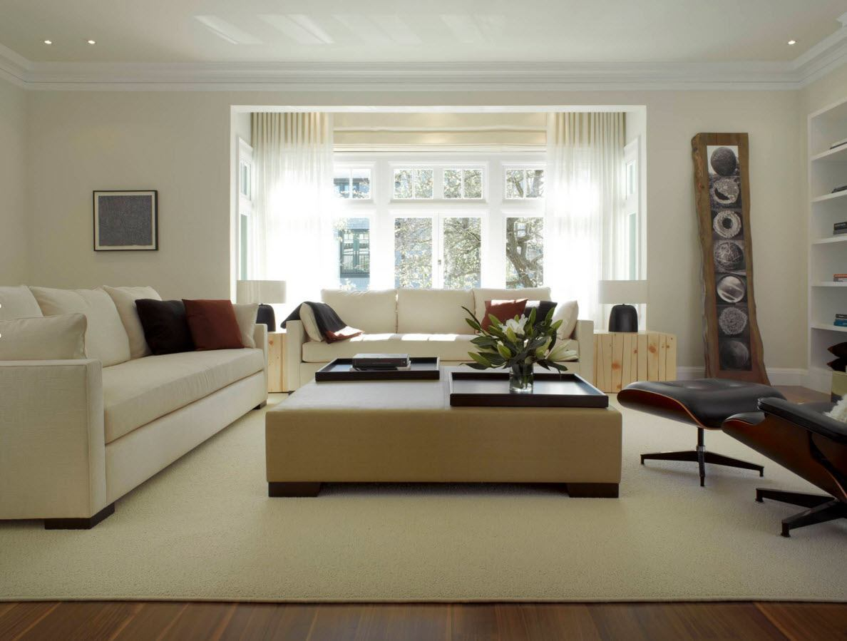 Ottoman as the Part of Modern Interior Design. Beige element of the light trimmed space