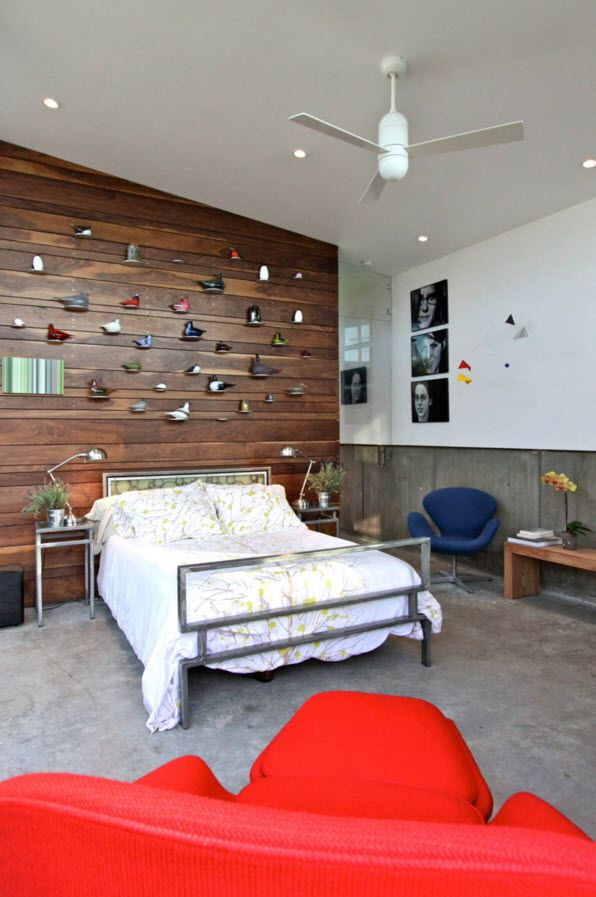 Walnut Furniture for the Modern Interior Decoration. Wooden accent wall with shelving and a plenty of decorative elements