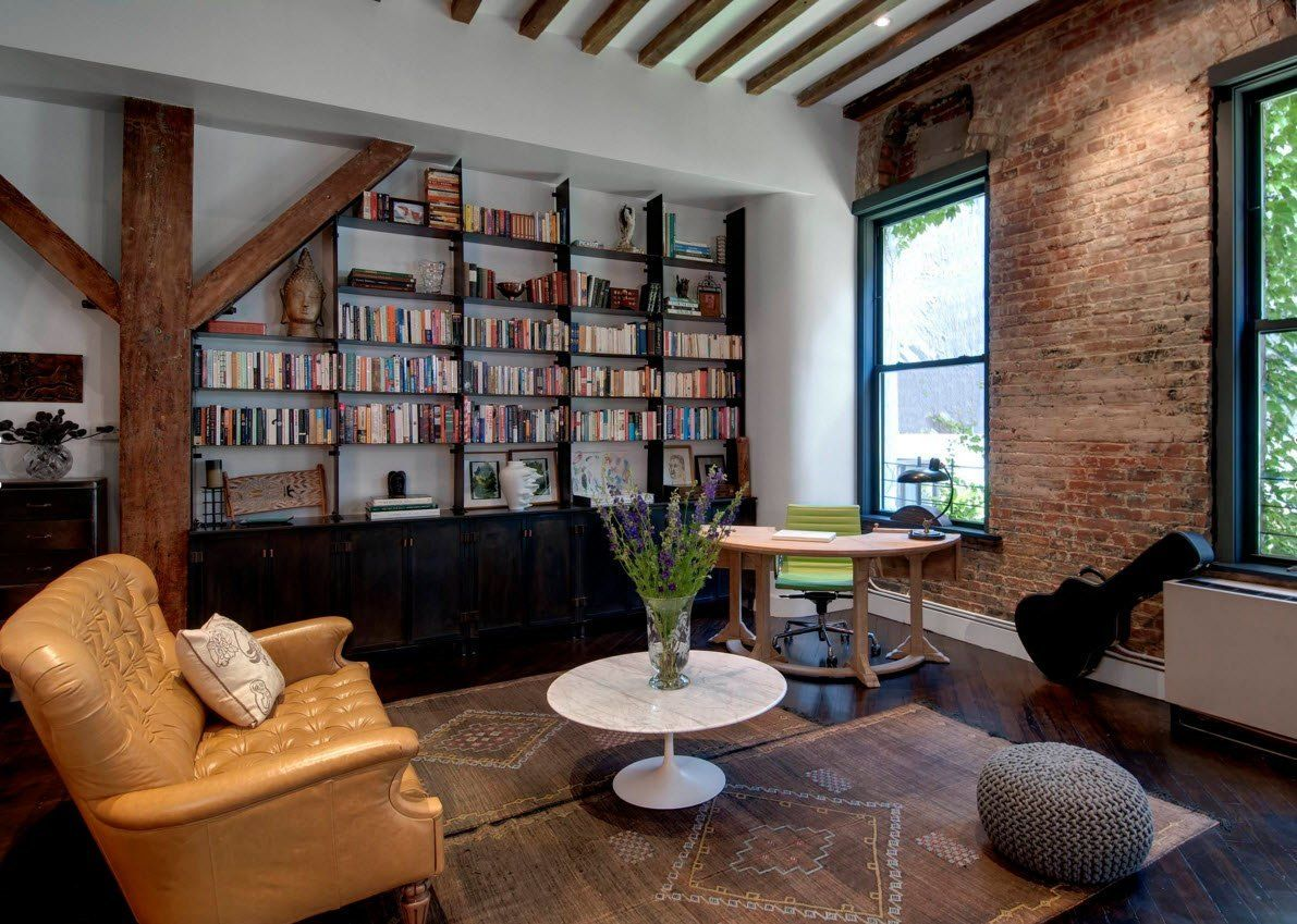 Wall Brickwork Design Ideas for Modern Living Spaces Interior. Library in the industrial apartment withe accent of bricks