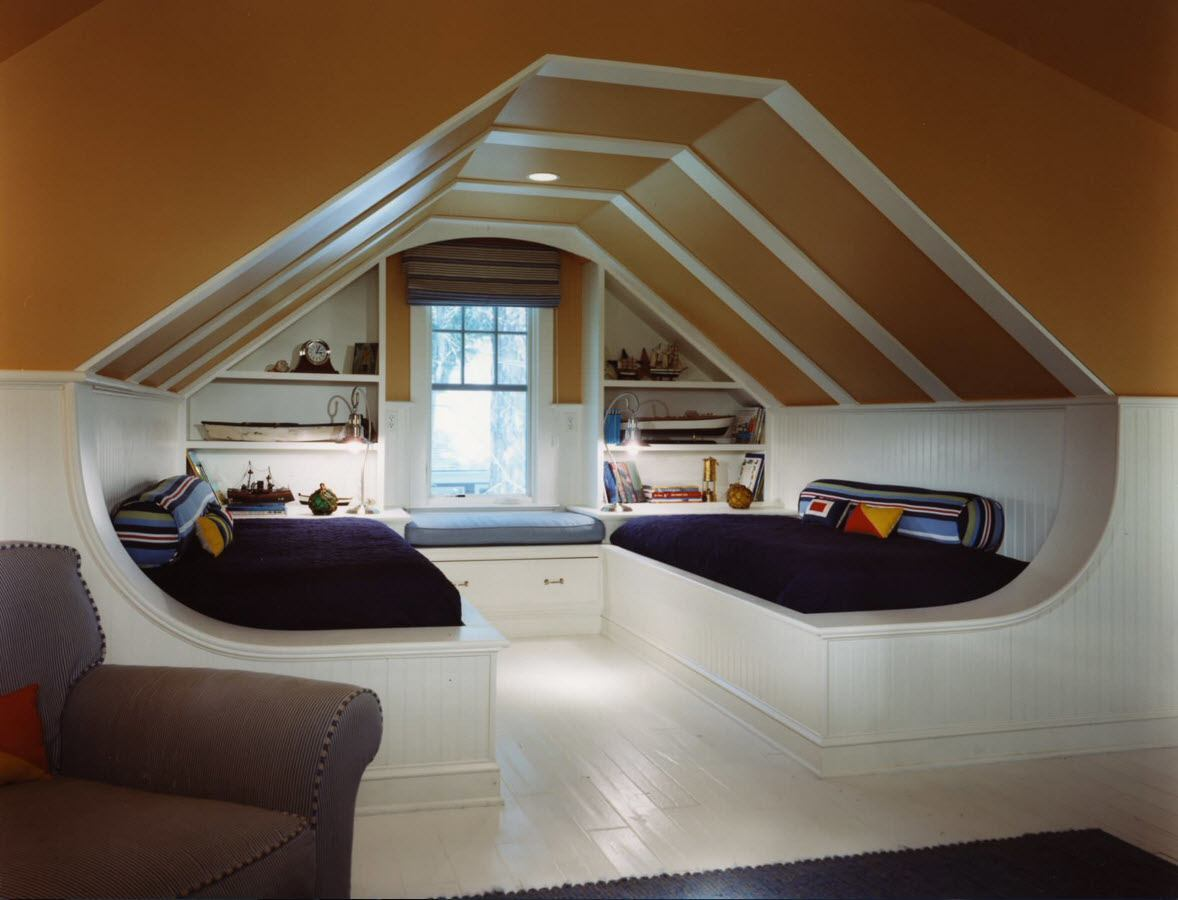 Loft Style Bedroom Design at the Attic. Unusual white wooden floor at the roof level