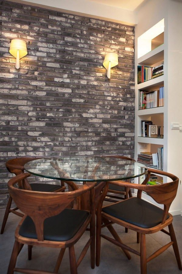 Wall Brickwork Design Ideas for Modern Living Spaces Interior. Cozy dining zone with the book shelf and the brick mosaic