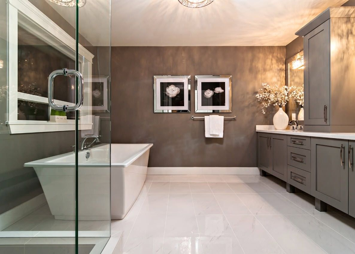 Nice contemporary design for the bathroom with glass shower cabin
