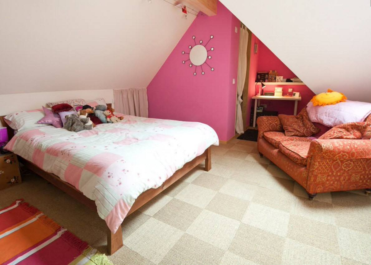 Children's Room Loft Renovation Design Ideas 2016. Cozy premises with pinky accent wall