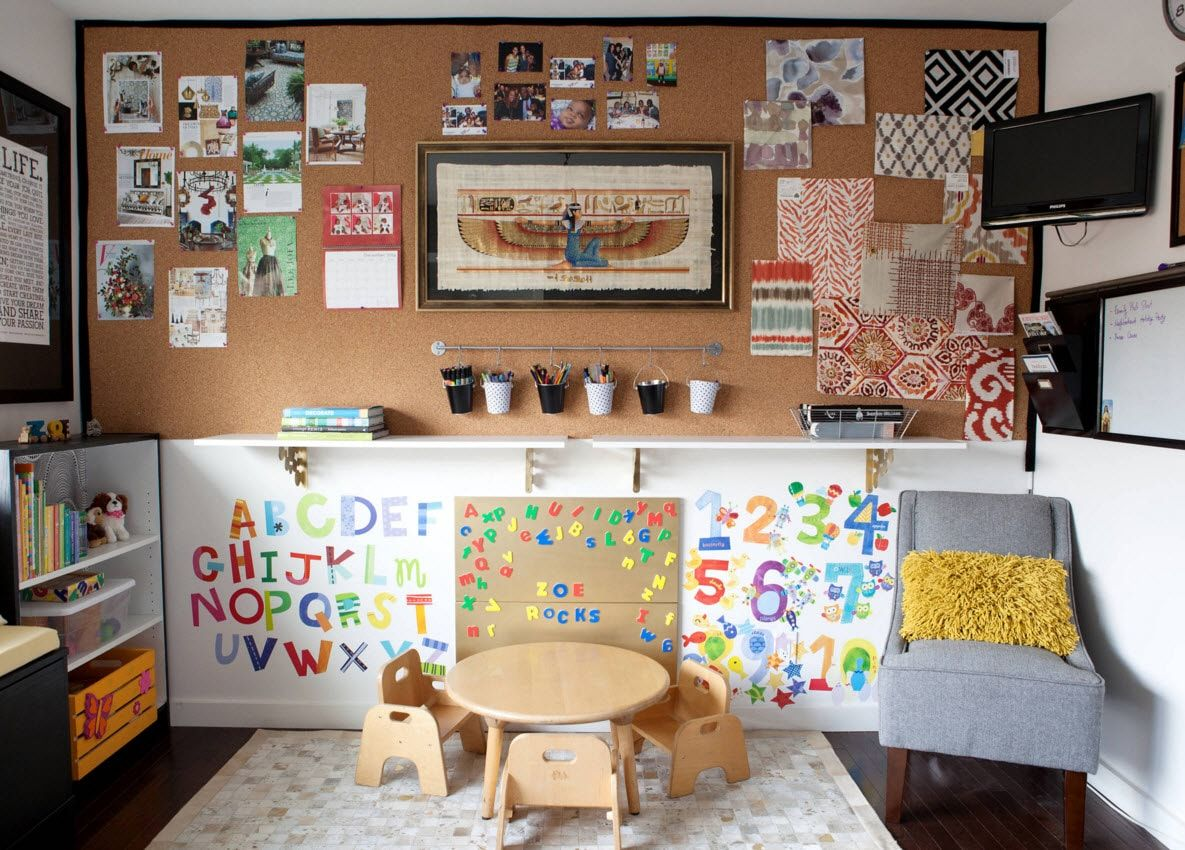 Boy's Room Design Ideas for every Age and Situation. Forgeous solution to decorate the room with useful letters and informatic sheets