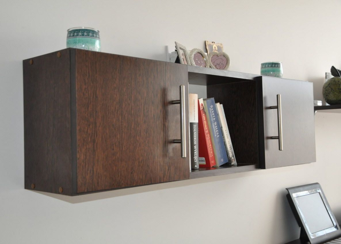 Walnut Furniture for the Modern Interior Decoration. Solid wooden shelf for books
