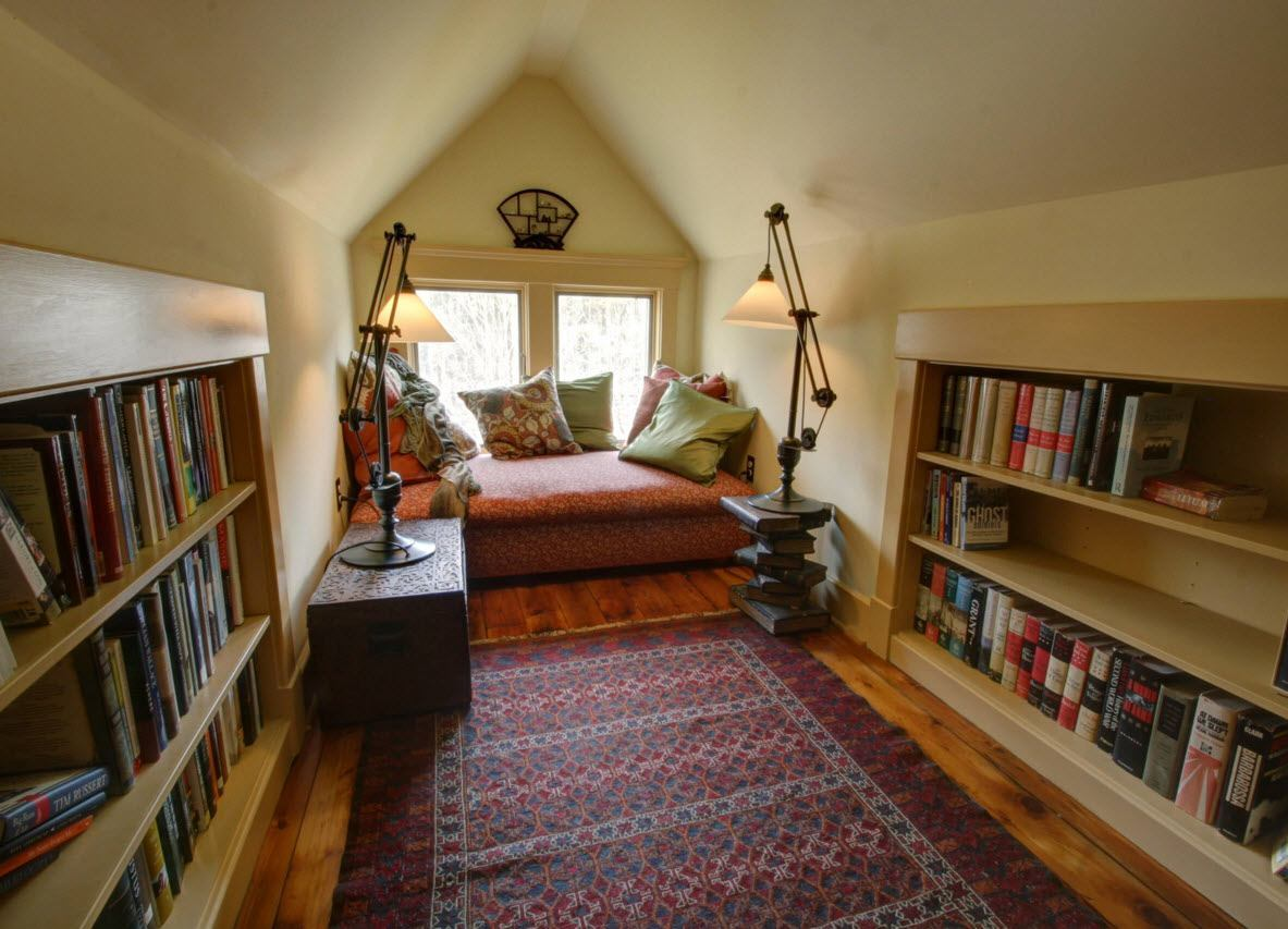 Study, Bathroom, Home Theater, Dressing Room Loft Design Ideas. Classic light library with Arabian rug and light trim