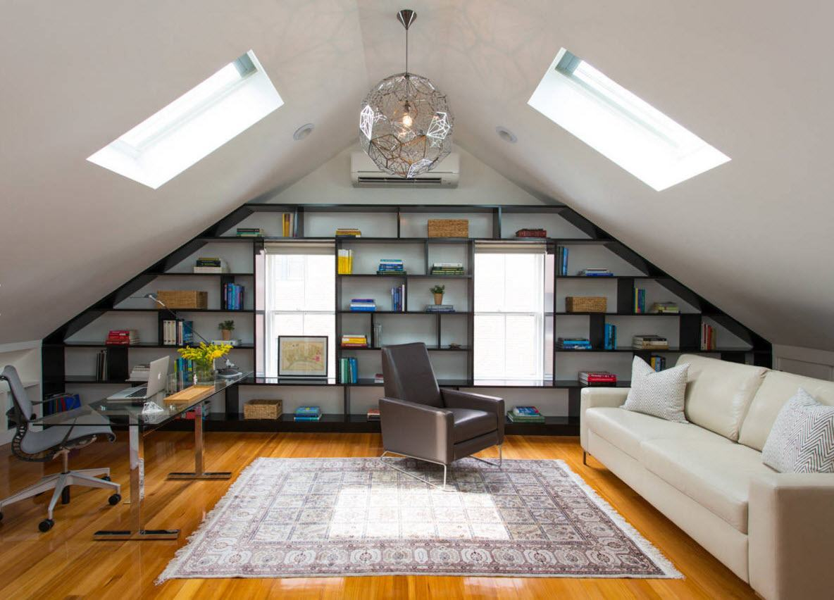 Study, Bathroom, Home Theater, Dressing Room Loft Design Ideas. Modern library at the attic