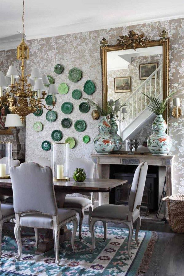 Decorative Plates on the Wall of the Dining room. Huge mirror in the meal space and the decoration next to it
