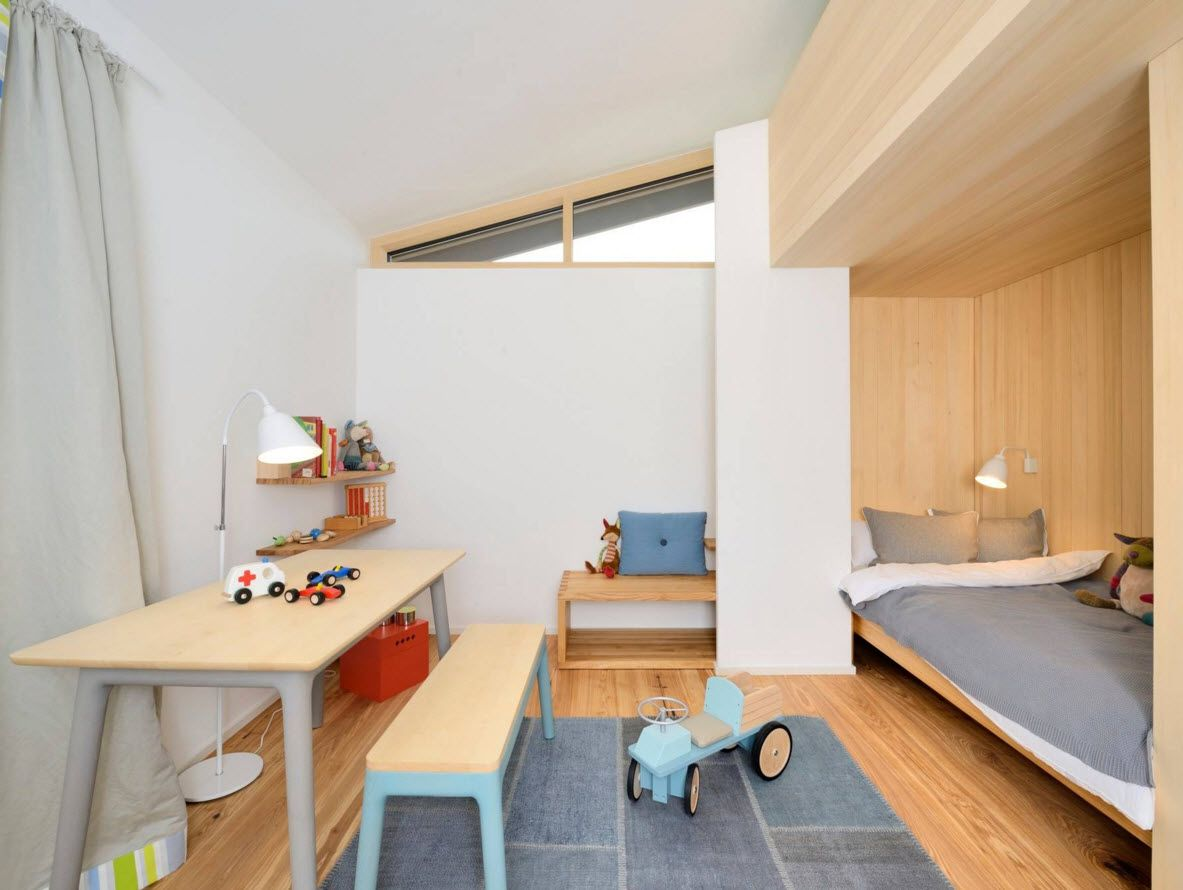 Boy's Room Design Ideas for every Age and Situation. Nice mix of white and light wooden surfaces