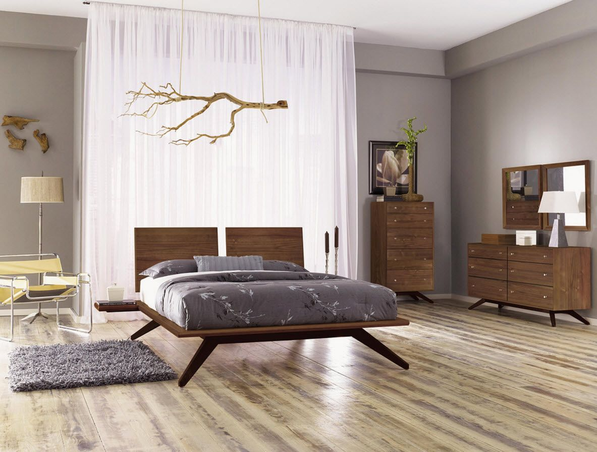 Walnut Furniture for the Modern Interior Decoration. Absolutely unique design for the light adorned bedroom