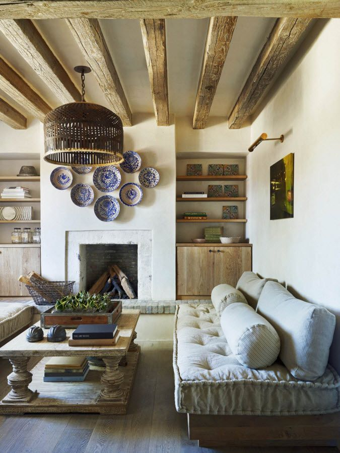 Living Room Wall Plates Decoration. Rustic style for private house