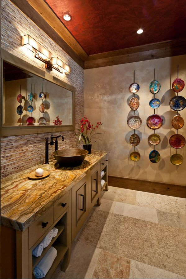 Unusual wooden designed rustic bathroom with plates composition at the wall