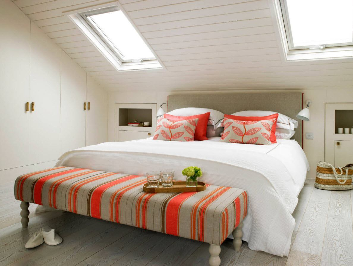 Loft Style Bedroom Design at the Attic. Bright accents