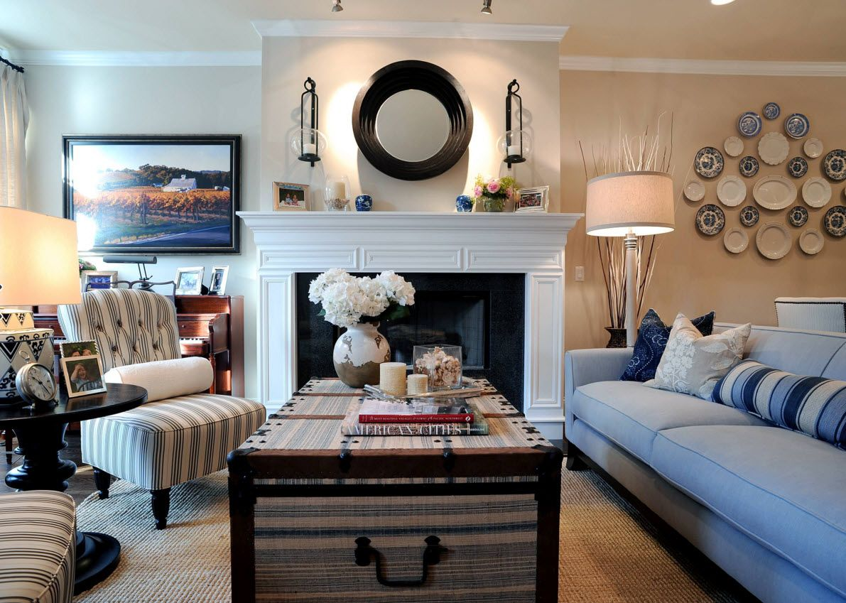 Living Room Wall Plates Decoration. Nice Modern Design For The Space With  Decorative Hearth