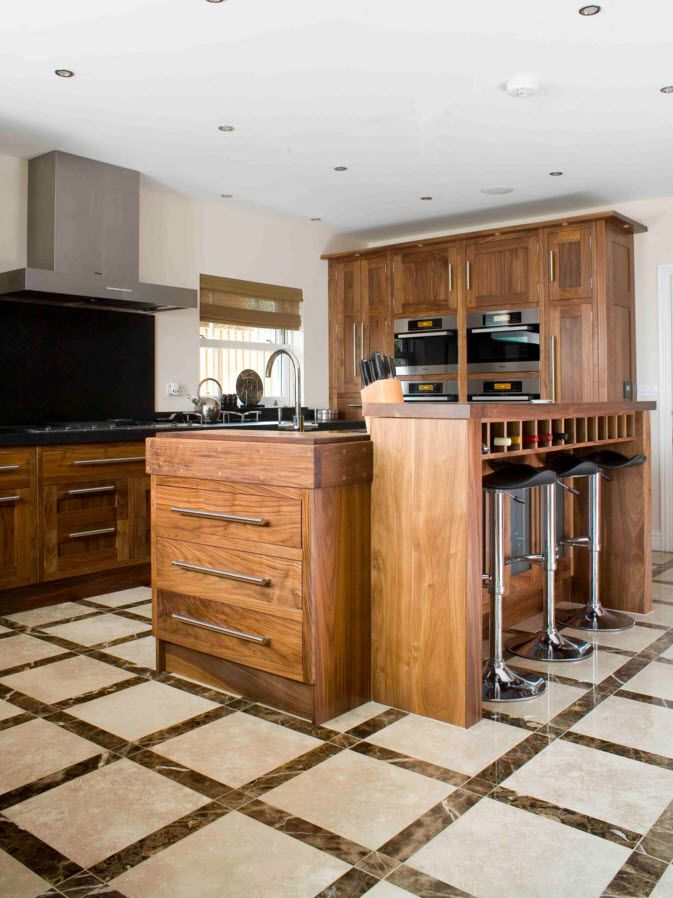Walnut Furniture for the Modern Interior Decoration. Kitchen island of natural color and material