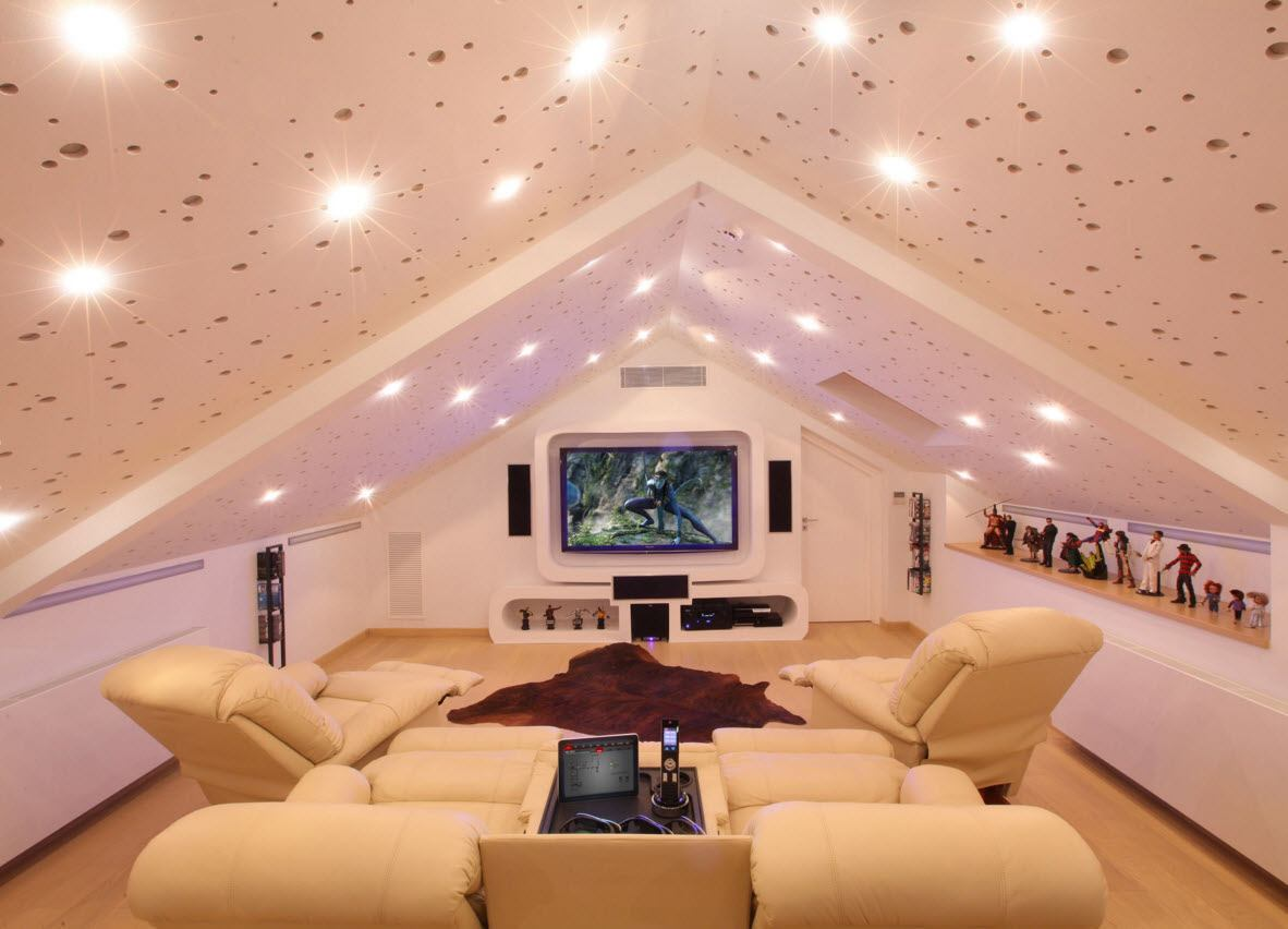 Starry decoration for loft home theater