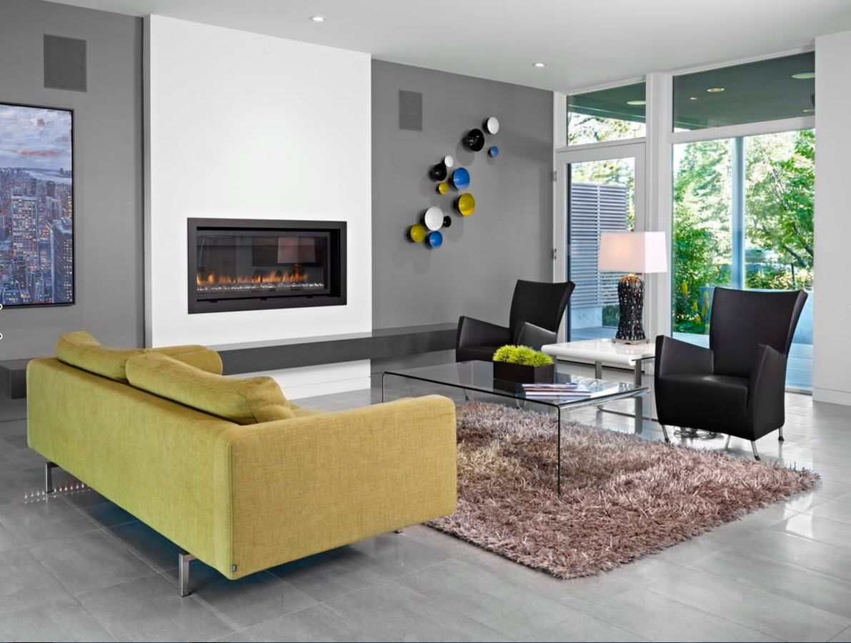 Contemporary minimalistic style and contrasting yellow sofa