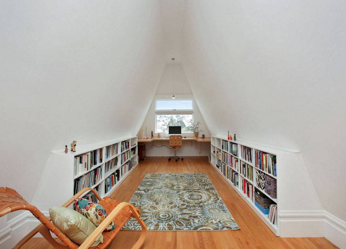 Study, Bathroom, Home Theater, Dressing Room Loft Design Ideas. Absolutely white trimming for the naturally trimmed library