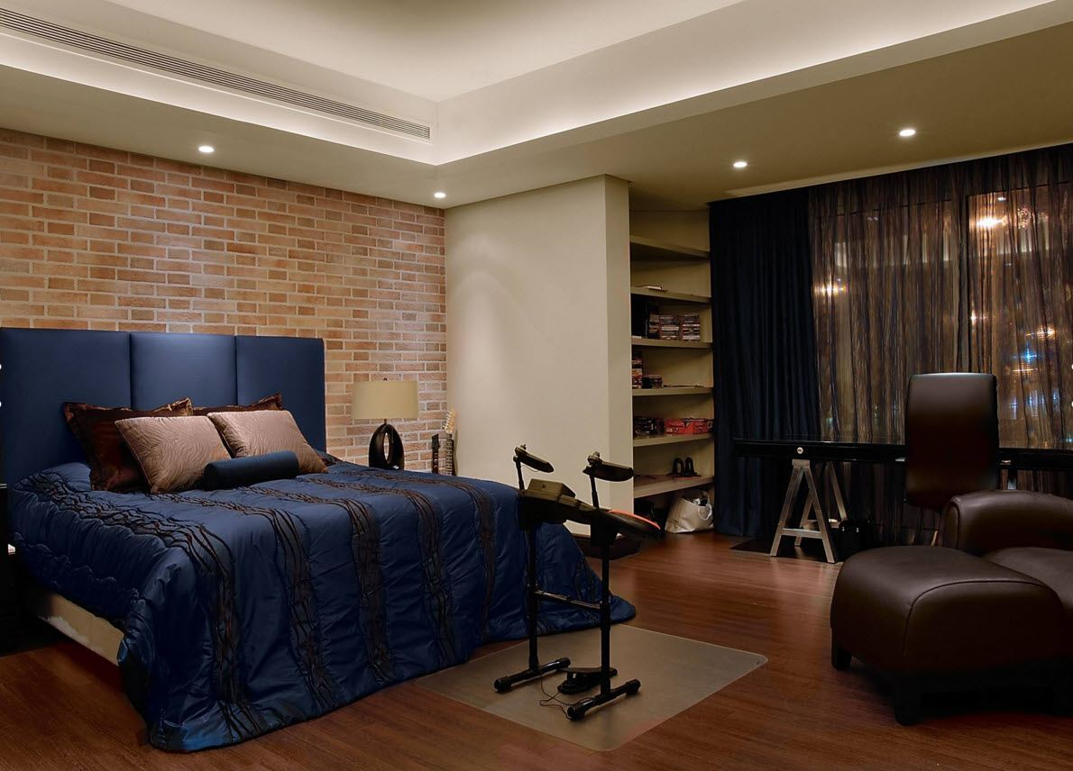 Wall Brickwork Design Ideas for Modern Living Spaces Interior. Solid design of the bedroom for classic lover