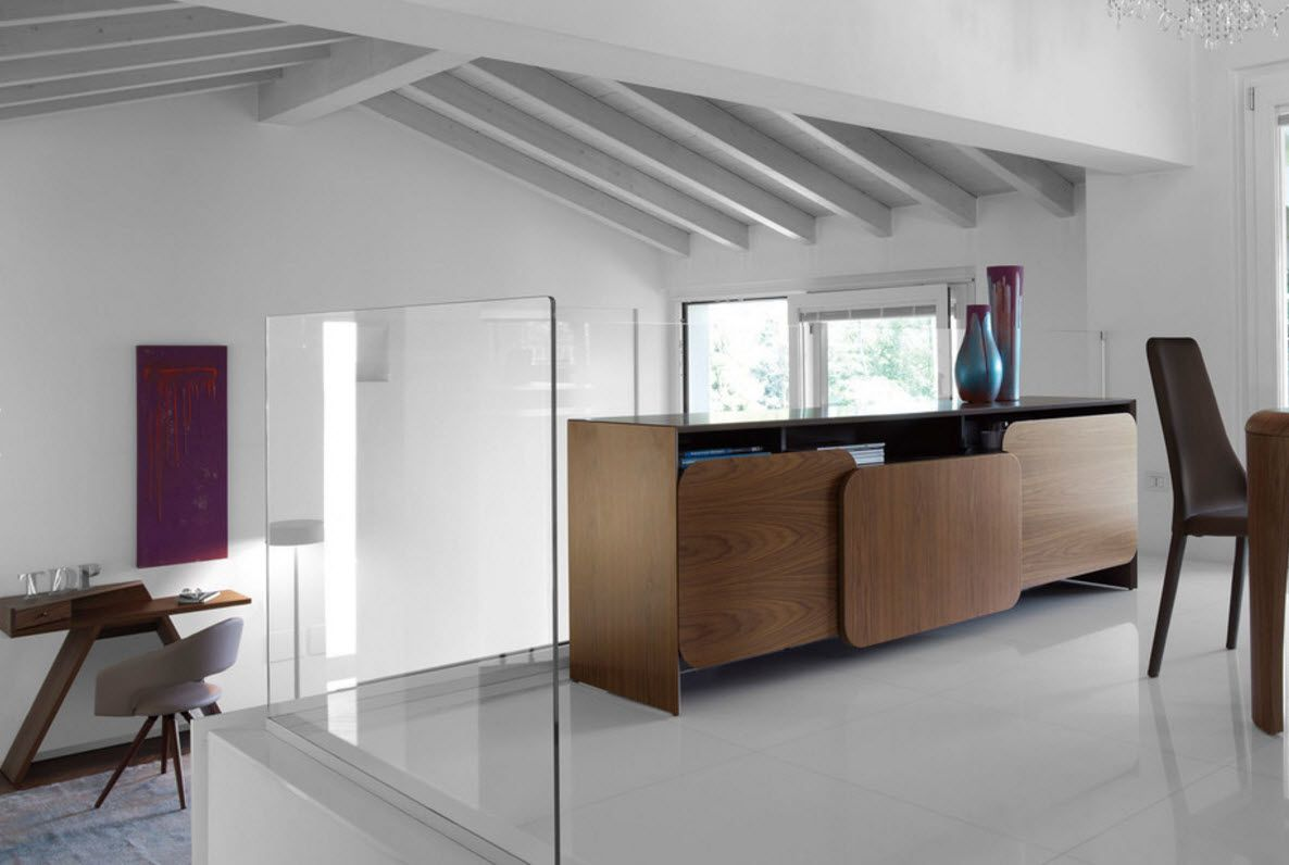 Walnut Furniture for the Modern Interior Decoration. Unexpected contrast of white wall trimming and wooden furniture