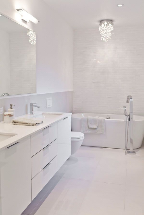 White Floor as an Exquisite Decoration Idea for Modern Interiors. Totally white bathroom design with steel shiny sanitary