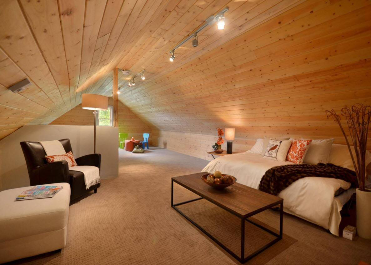 totally wooden trimming in the loft styled attic living room