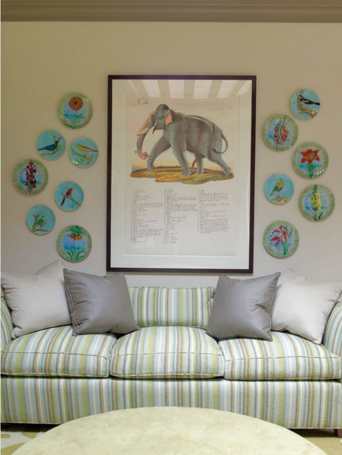 Living Room Wall Plates Decoration. Around the picture with elephant