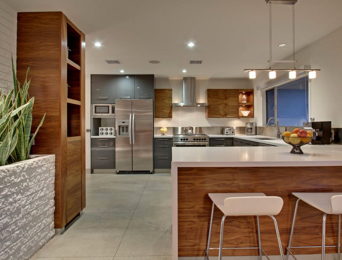Walnut Furniture For The Modern Interior Decoration. Nice Kitchen  Installation Of Furniture In Different Color ...