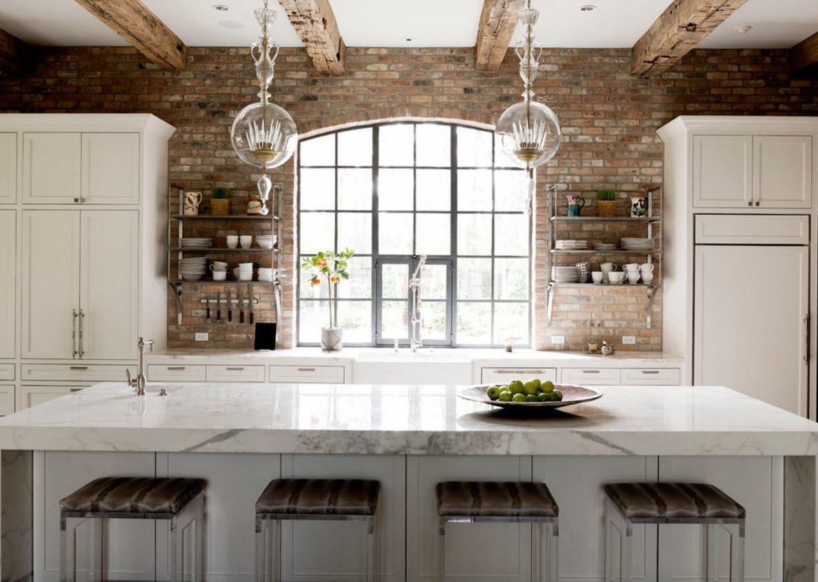 Wall Brickwork Design Ideas for Modern Living Spaces Interior. Kitchen with the lattice window and Provence thematic of the decor