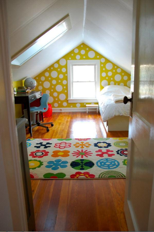 Children's Room Loft Renovation Design Ideas 2016. Yellow dotted and printed walls and nice printing on the carpet