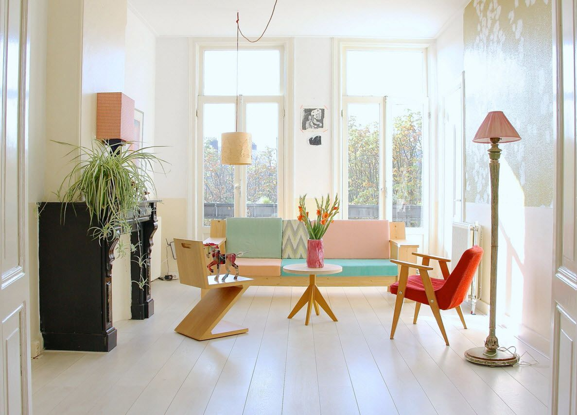 White Floor as an Exquisite Decoration Idea for Modern Interiors. Funky contemporary interior of the living with experimental color theme of the furniture