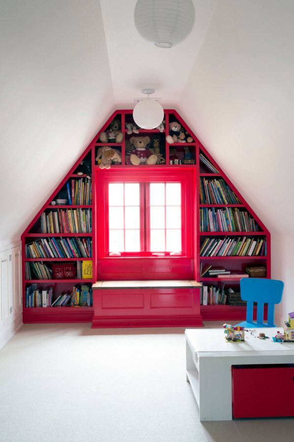 Children's Room Loft Renovation Design Ideas 2016. A space for elder children with library and bright furniture elements